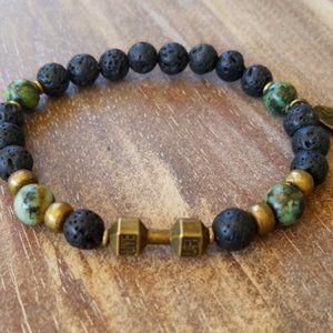 NWT Men's ~ African Turquoise/Lava Dumbbe Bracelet